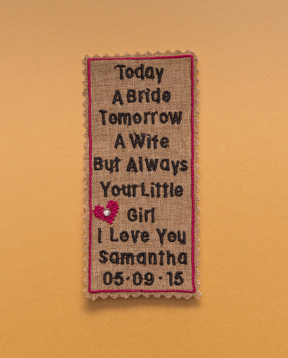 personalised tie patch for father of the bride. Embroidered tie patch gifts.